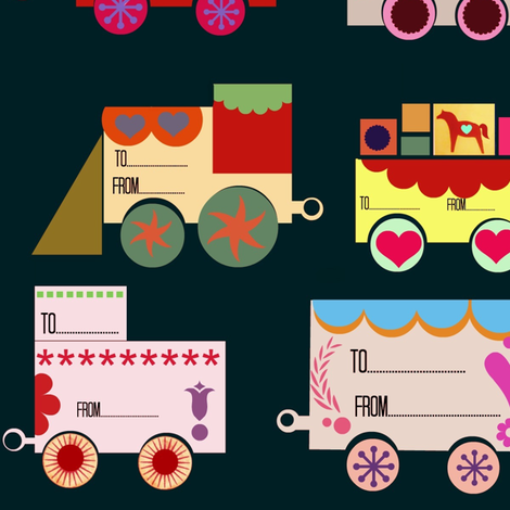 Dala Train: 12 Gift-tags fabric by boris_thumbkin on Spoonflower - custom fabric