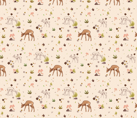 Deer in Autumn fabric by katerosemary on Spoonflower - custom fabric