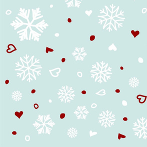 Winter Holiday Snowflakes Hearts on Blue