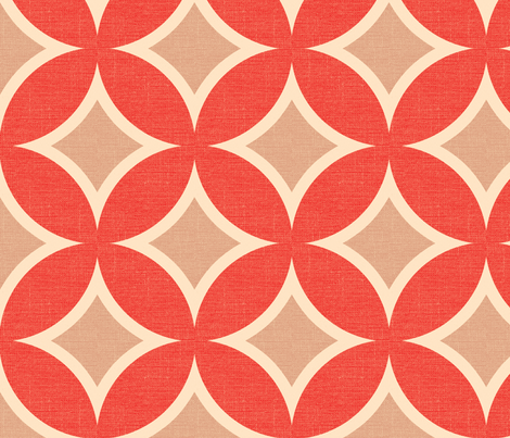 MOD CIRCLE TILE - coral linen fabric by marcador on Spoonflower - custom fabric