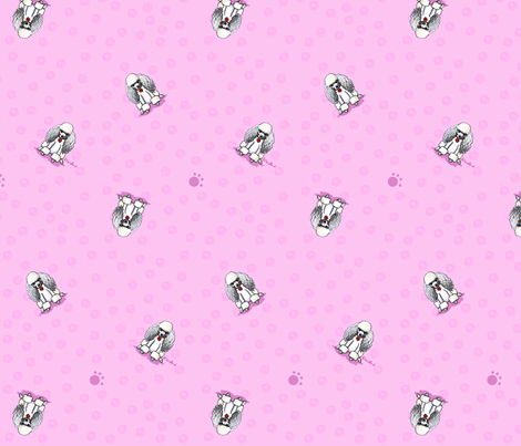 Poodles On Pink fabric by kiniart on Spoonflower - custom fabric