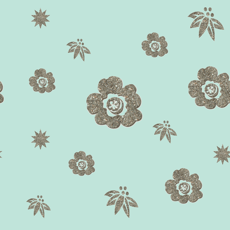 Glittery Flowers on Sea Green fabric by karenharveycox on Spoonflower - custom fabric