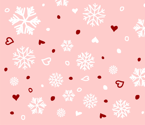 Winter Holiday Snowflakes Hearts on Pink fabric by ruxique on Spoonflower - custom fabric
