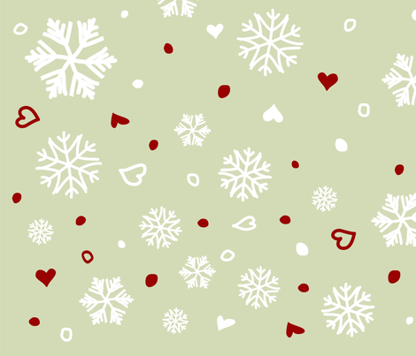 Winter Holiday Snowflakes Hearts on Green fabric by ruxique on Spoonflower - custom fabric
