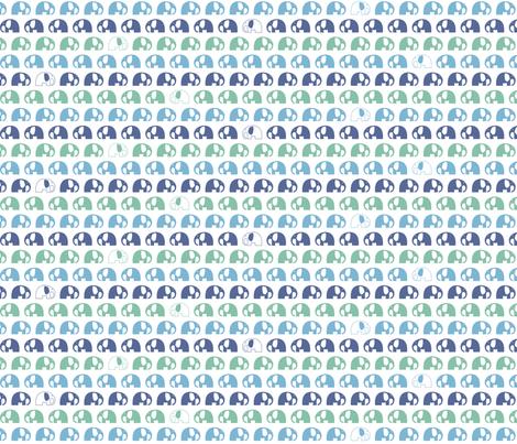 elephants_2cm_blue green blue fabric by two_little_flowers on Spoonflower - custom fabric