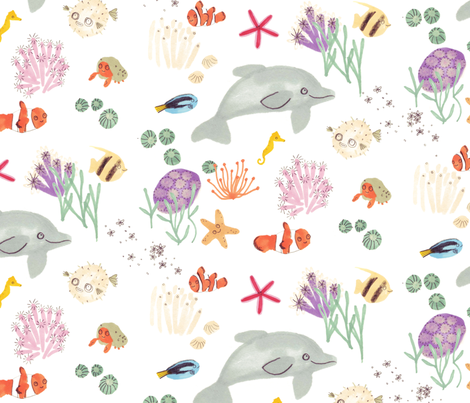 Happy Sea Creatures fabric by jo_clark on Spoonflower - custom fabric
