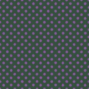 Jardin Loco-Dotty-Purple on DkGreen