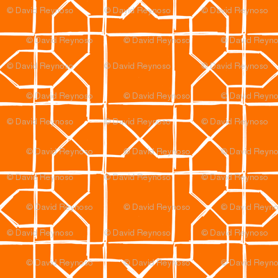 ALHAMBRA TRELLIS - white on classic orange