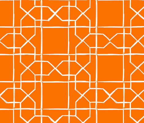 ALHAMBRA TRELLIS - white on classic orange fabric by marcador on Spoonflower - custom fabric
