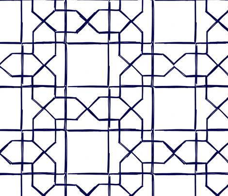 ALHAMBRA TRELLIS - navy on white fabric by marcador on Spoonflower - custom fabric