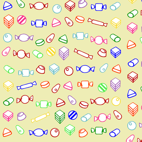old fashioned Candy - multi coloured- small fabric by littlemissquarter on Spoonflower - custom fabric
