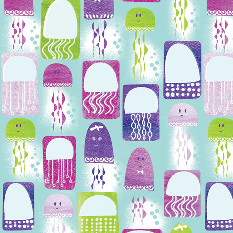 Jellyfish Bloom Surface Pattern fabric by licoricelove on Spoonflower - custom fabric