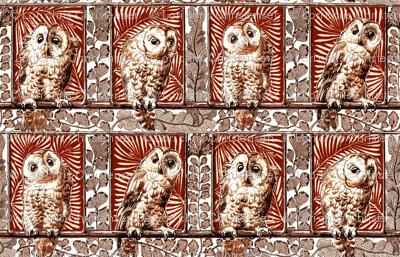 boxed owls burnt orange
