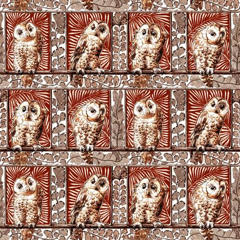boxed owls burnt orange fabric by keweenawchris on Spoonflower - custom fabric