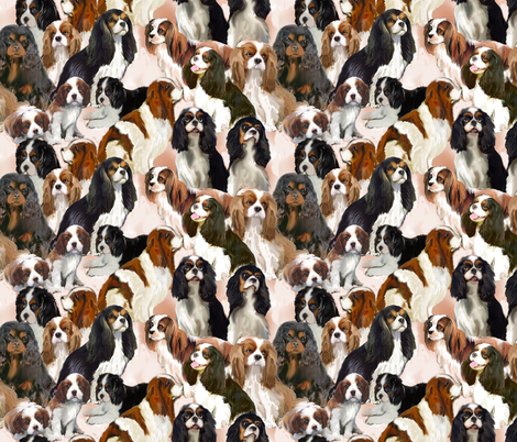 cavalier_spaniel_mural fabric by dogdaze_ on Spoonflower - custom fabric