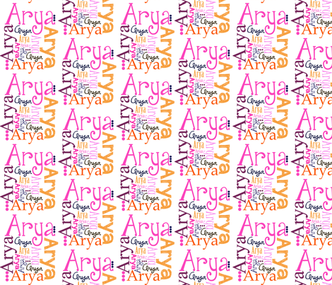 Arya Name Fabric fabric by sprockit on Spoonflower - custom fabric