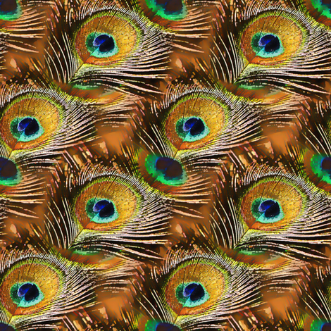 Peacock Feather in copper fabric by joanmclemore on Spoonflower - custom fabric