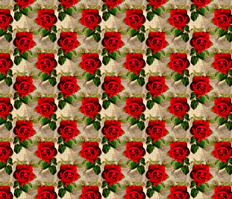 Red Rose on vintage ephemera fabric by linsart on Spoonflower - custom fabric