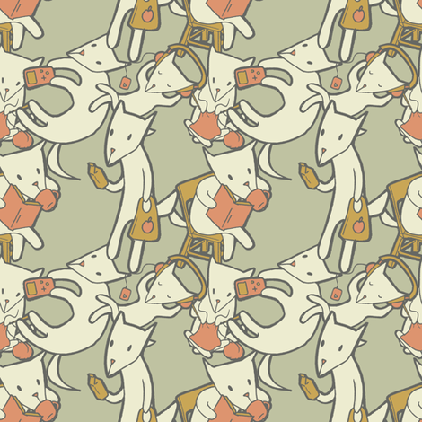 Foxes Doing Not-So-Fox-Like Things fabric by taylourbeadling on Spoonflower - custom fabric