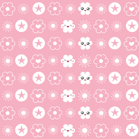 Flower Trim in Light Pink fabric by m0dm0m on Spoonflower - custom fabric