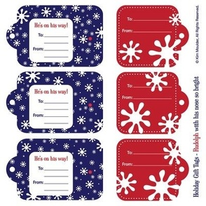 Rudolph with his nose so bright - Gift Tags