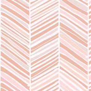 Herringbone Hues of Pastel M+M Peachy Pink by Friztin