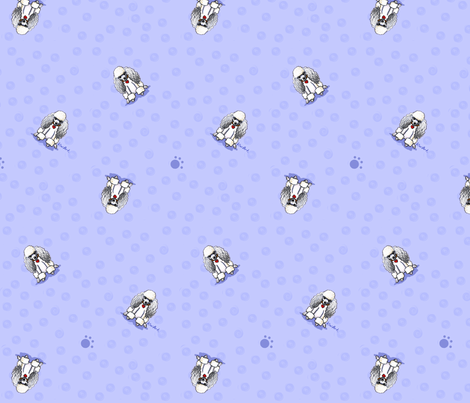 Poodles on Blue fabric by kiniart on Spoonflower - custom fabric