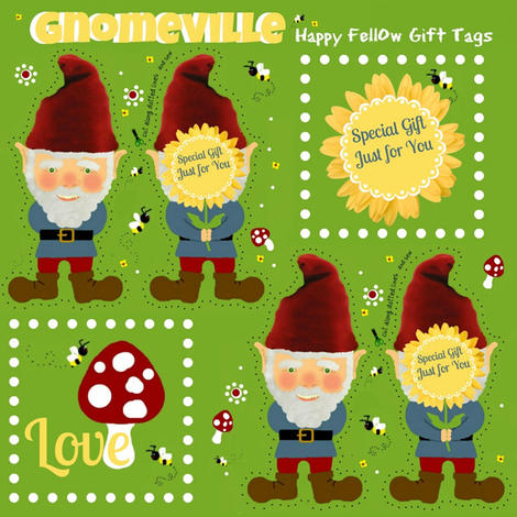 A Happy Fellow Gift Tag fabric by paragonstudios on Spoonflower - custom fabric