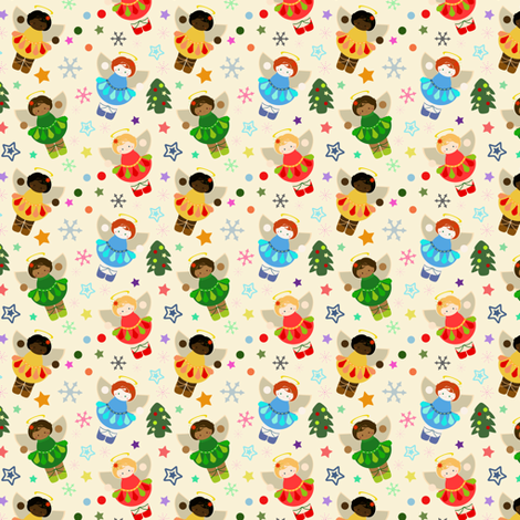 Little Christmas Angels fabric by eppiepeppercorn on Spoonflower - custom fabric