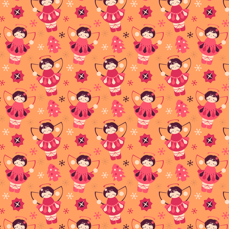 Pink Sherbet Angels fabric by eppiepeppercorn on Spoonflower - custom fabric
