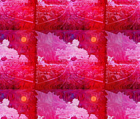 The night the Harvest Moon cast a pink glow fabric by anniedeb on Spoonflower - custom fabric