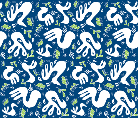 A Fancy Feathery Flock 2! (midnight sky blue, granny apple and white) fabric by pattyryboltdesigns on Spoonflower - custom fabric