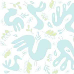 A Fancy Feathery Flock! ll (lt. aqua, lt. lime and white)