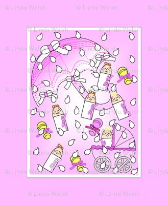 It's Raining Baby Girls Umbrellas, Rain Drops and Rattles Fabric Panel