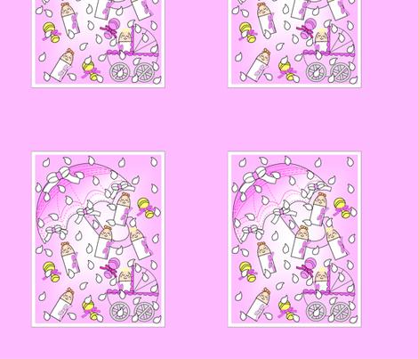 It's Raining Baby Girls Umbrellas, Rain Drops and Rattles Fabric Panel fabric by lworiginals on Spoonflower - custom fabric