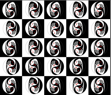 CHINESE CHECKERS YIN YANG SNAKES fabric by bluevelvet on Spoonflower - custom fabric