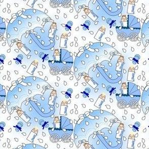 It's Raining Baby Boys Umbrella, Rain Drop and Rattles Fabric