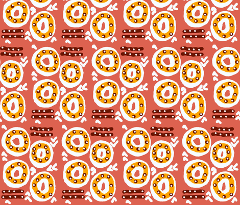 Doughnuts with sprinkles, sausages on the side fabric by anniedeb on Spoonflower - custom fabric