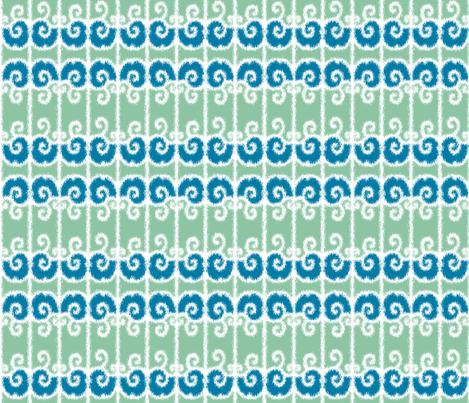 Ikat Wrought Iron Swirls in Sea Green and Blue fabric by fridabarlow on Spoonflower - custom fabric