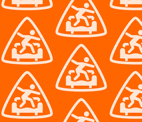 Safety Orange: Triangle CouchSurfing Logo fabric by theinfamousj on Spoonflower - custom fabric