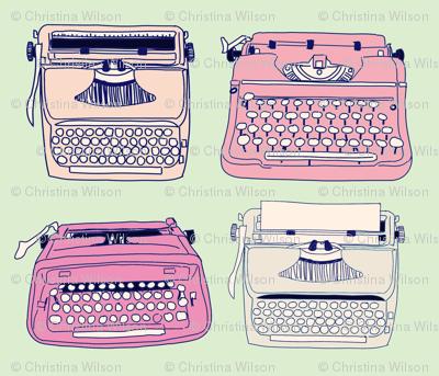 Typewriters Pink & Mint