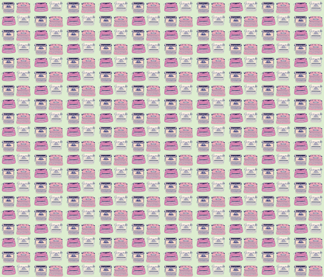 Typewriters Pink & Mint fabric by curious_nook on Spoonflower - custom fabric