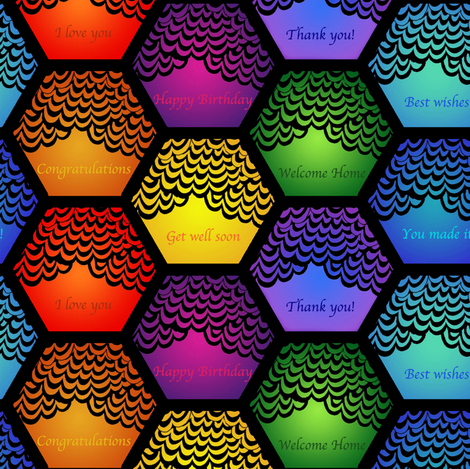 Hexagonal surprise fabric by zandloopster on Spoonflower - custom fabric