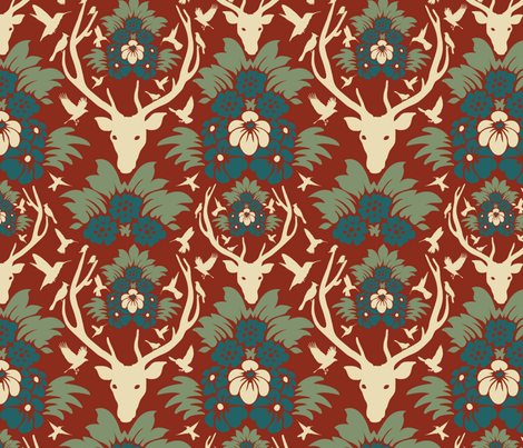 Stag head damask fabric by kirstin_e on Spoonflower - custom fabric