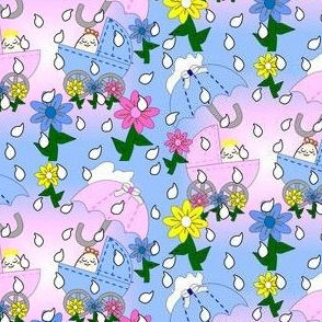 Babies Splashing In The Rain Umbrella, Flowers, Rain Drops and Carriages Fabric
