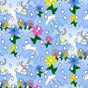 Babies Splashing In The Rain Too Umbrella, Flowers, Rain Drops and Carriages Fabric