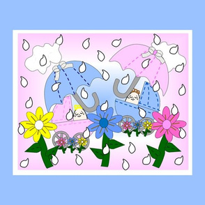 Babies Splashing In The Rain Umbrella, Flowers, Rain Drops and Carriages Fabric Panel