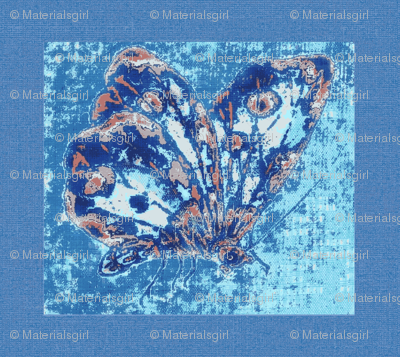 Porcelain butterfly, blue linen