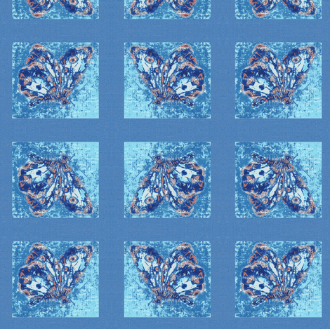 Porcelain butterfly, blue linen fabric by materialsgirl on Spoonflower - custom fabric