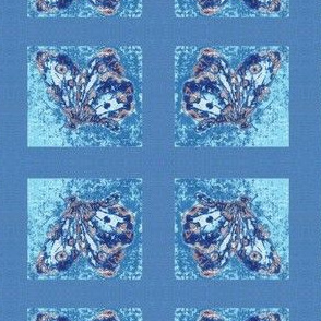 Porcelain butterfly, blue linen